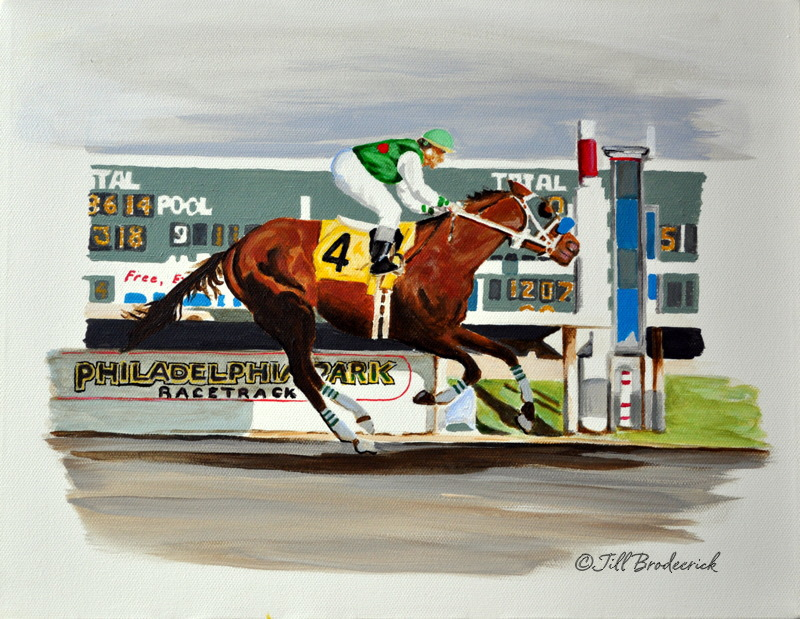 "THE FINISH LINE - ACRYLIC ON CANVAS -    9"" X 12"""