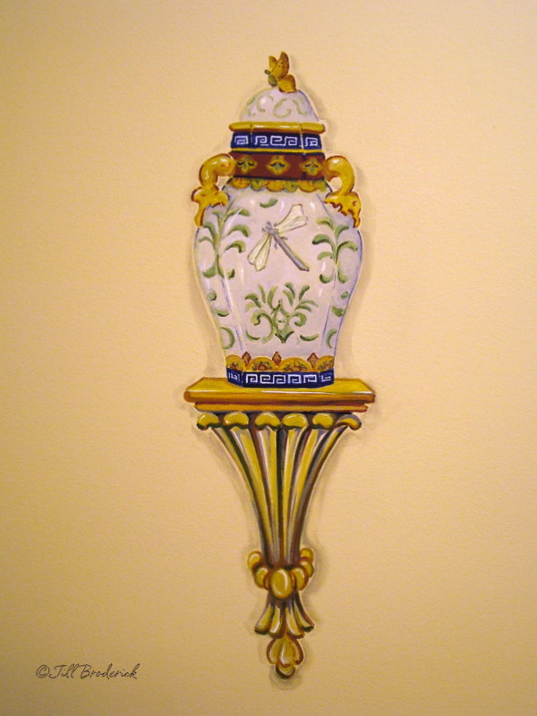 URN & BRACKET - HAND PAINTED WALL DETAIL - ACRYLIC