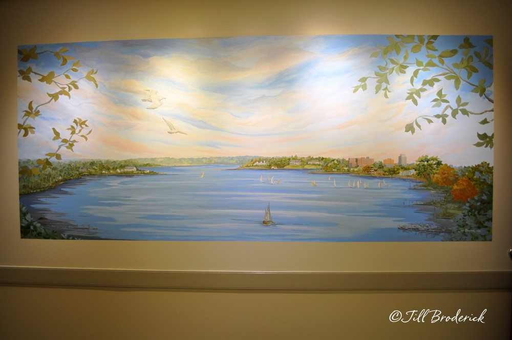 "UROLOGY ASSOCIATES, SHREWSBURY, NJ - NAVESINK VIEW MURAL - ACRYLIC - 4' H X 9'- 8"" W"