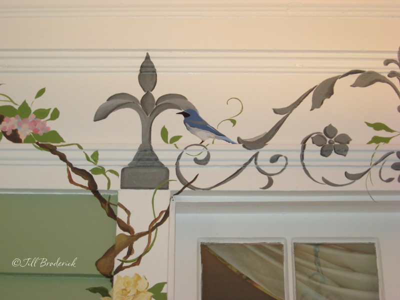 DETAIL OF IRONWORK AND FLOWERING VINES - INDOOR PORCH