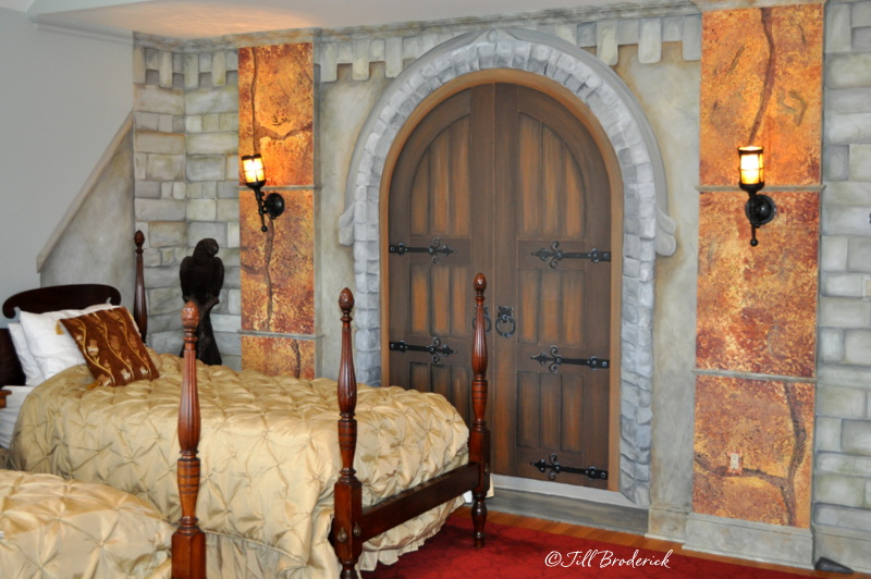 HAND PAINTED STONE WALL AND PRETEND DOOR
