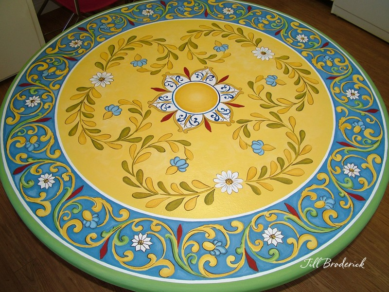 "HAND PAINTED TABLE TOP - 48""D - ACRYLIC"