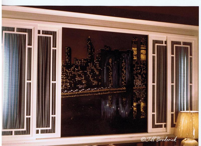 NY SKYLINE MURAL WITH REAL SLIDING SHOJI WINDOW PANELS - ACRYLIC