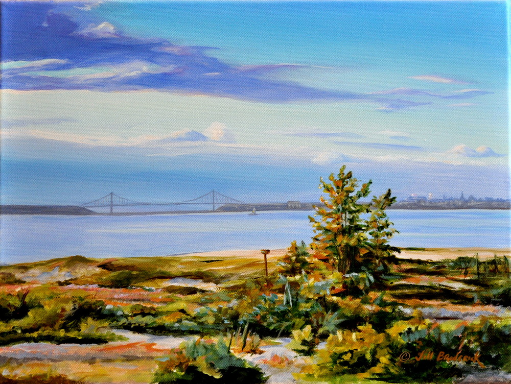 "SANDY HOOK, NJ WITH NY IN THE DISTANCE - ACRYLIC ON CANVAS - 12""X16"""