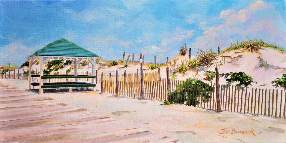 "BEACH PAVILLION - SEASIDE PARK, N.J. - ACRYLIC ON CANVAS - 12""X24"""