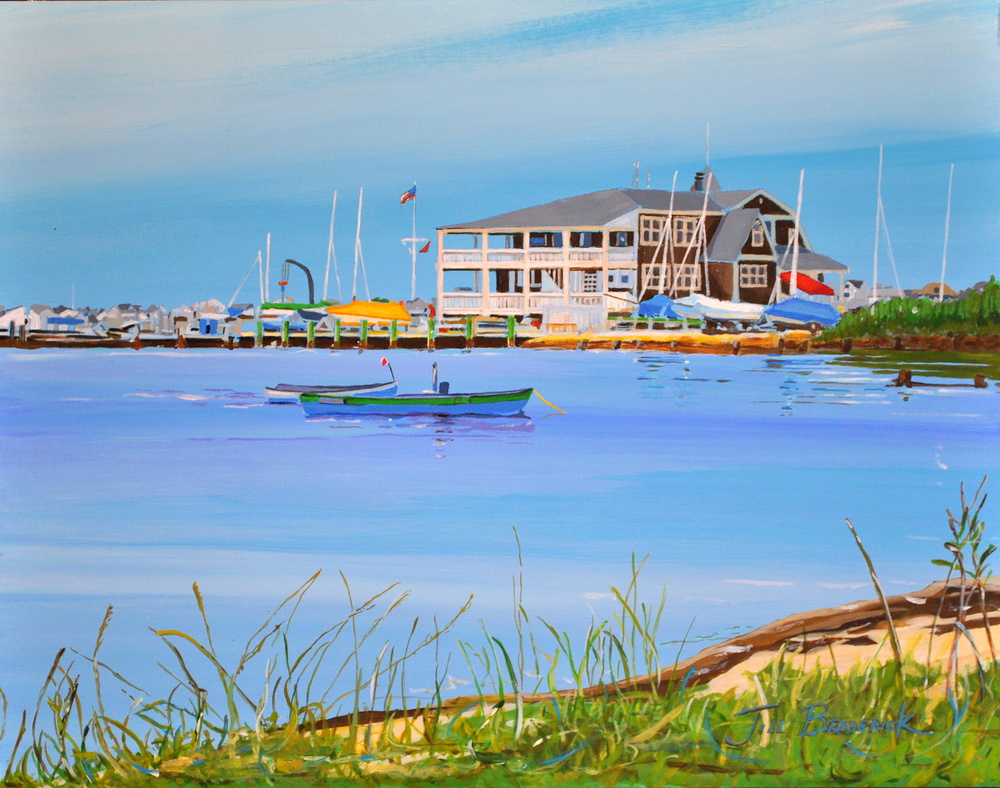 "YACHT CLUB - SEASIDE PARK, N.J. - ACRYLIC ON PANEL - 11""X14"""