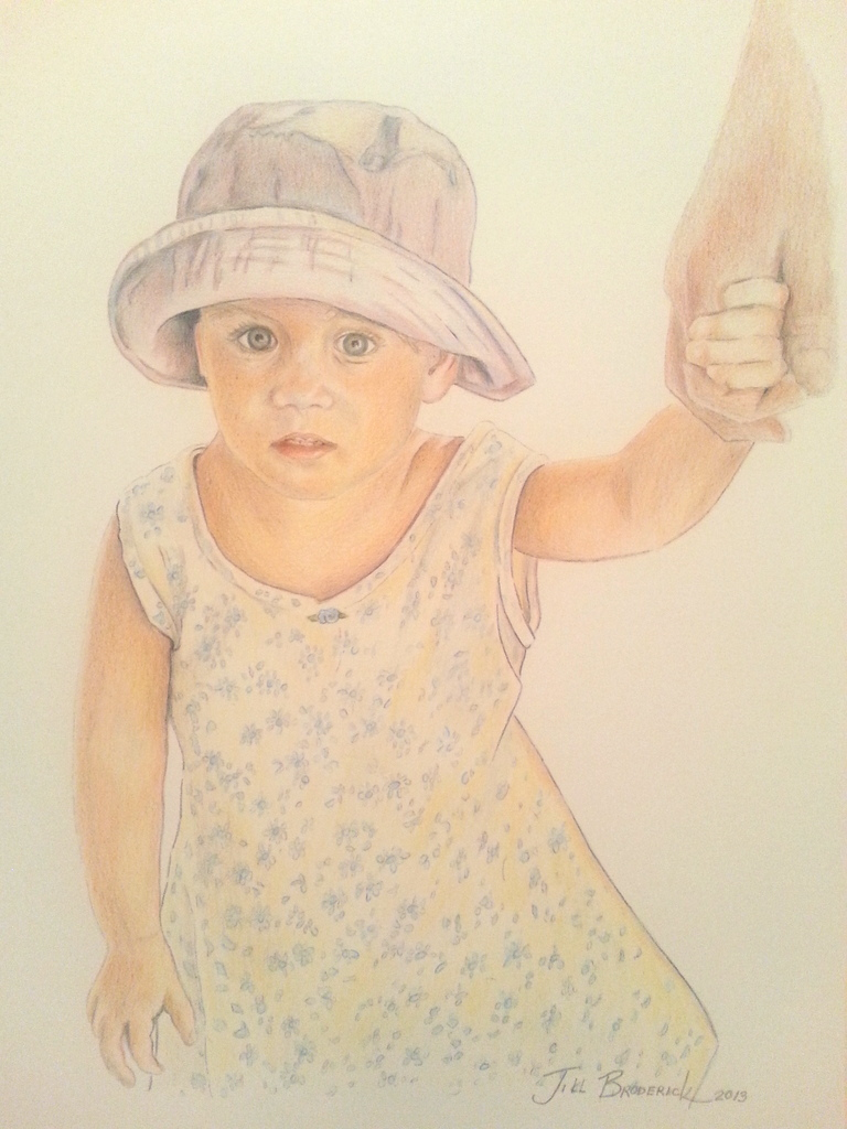 "LITTLE ONE - COLORED PENCIL - 11""x14"""