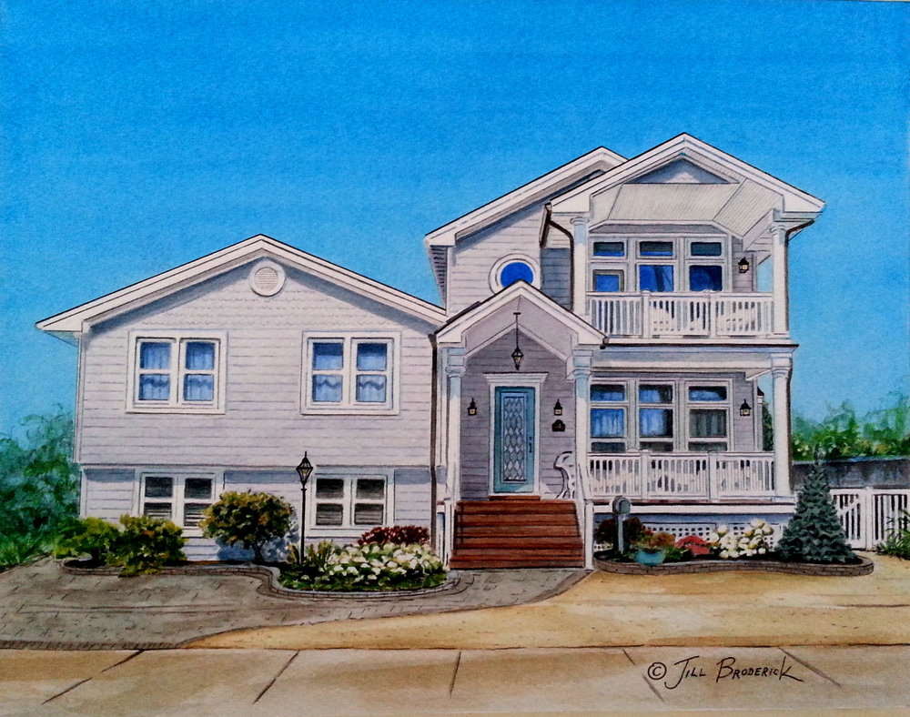 "SEASIDE PARK, NJ - HOUSE PORTRAIT - WATERCOLOR 11""X14"""