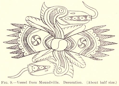 Illustration of a woodpecker design on a clay vessel* found at Moundville.  Moore, Clarence B. 1905. Certain Aboriginal Remains of the Black Warrior River. Journal of the Academy of Natural Sciences of Philadelphia.   *The vessel was possibly excavated from a burial site so out of respect to that ancestor, I have opted not to publish the photograph of the vessel.  Many pieces from Moundville were taken out of graves by robbers and archaeologists without permission from descendants of the deceased.