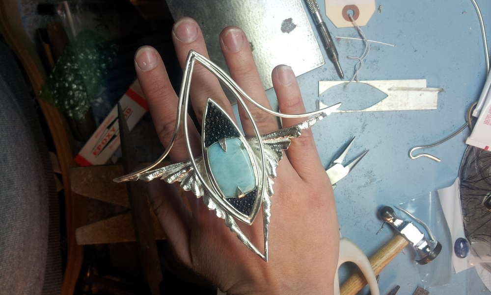 The completed statement ring at the jeweler's bench