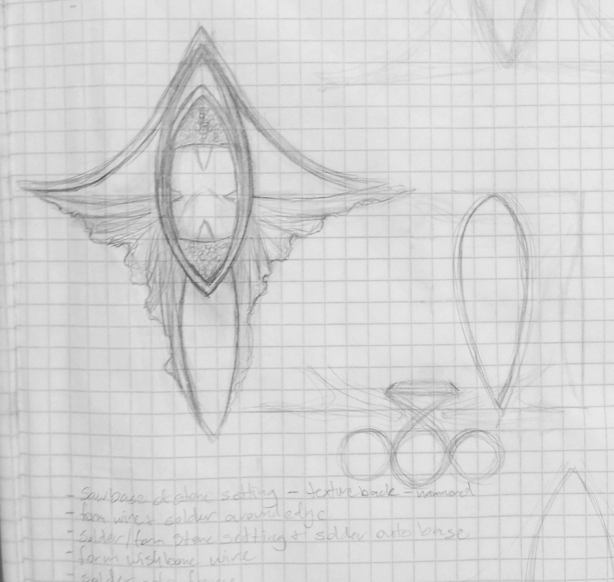 I love sketching my concepts on graph paper, I will then cut out the actual shapes from graph paper and tape them to the metal that needs to be sawed out.  I also work out the many steps of the creation process through notations on my sketches.
