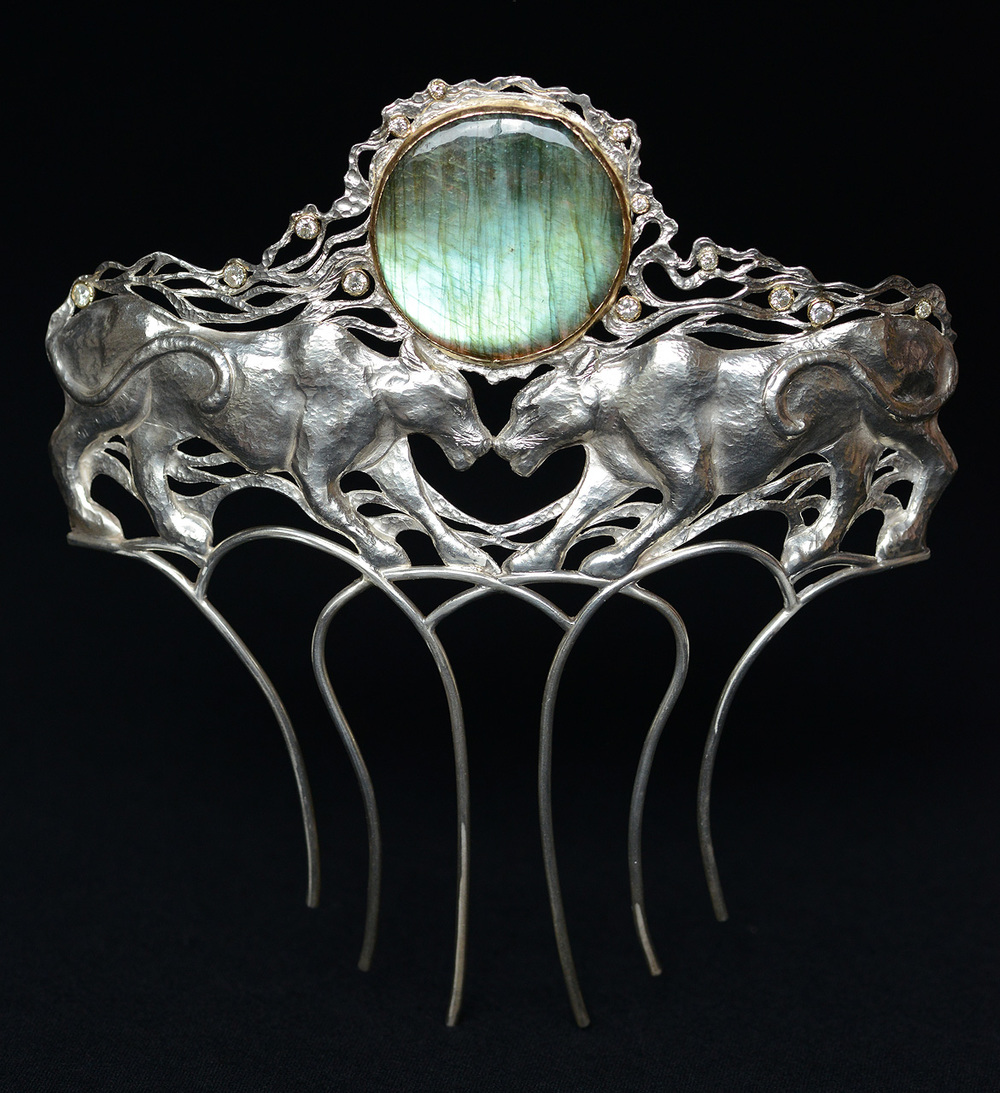 Panther Woman Hair Comb: Fine silver, 14k, Diamond, Labradorite. Price upon request.