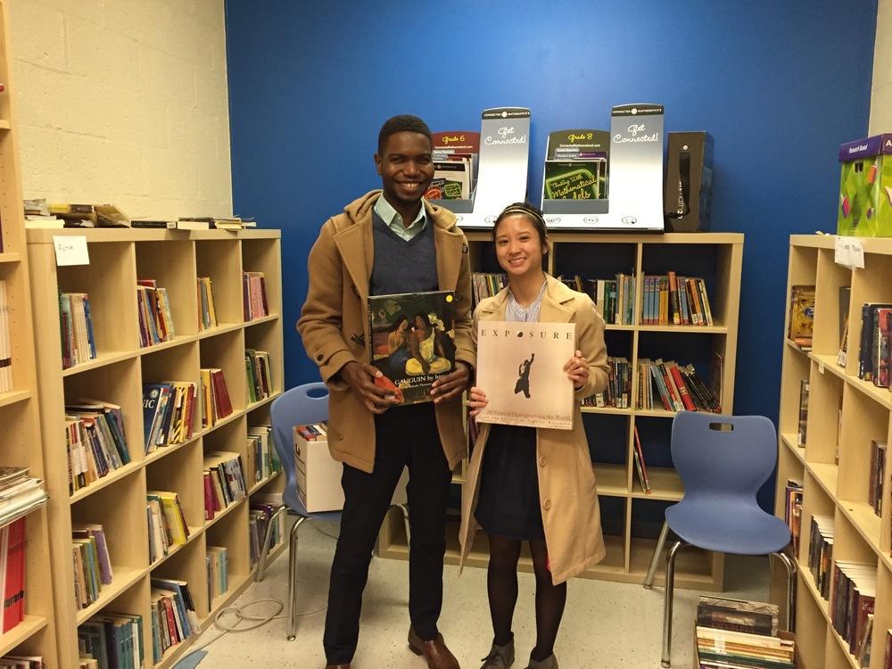 Krystal and Virgilio in the school's library