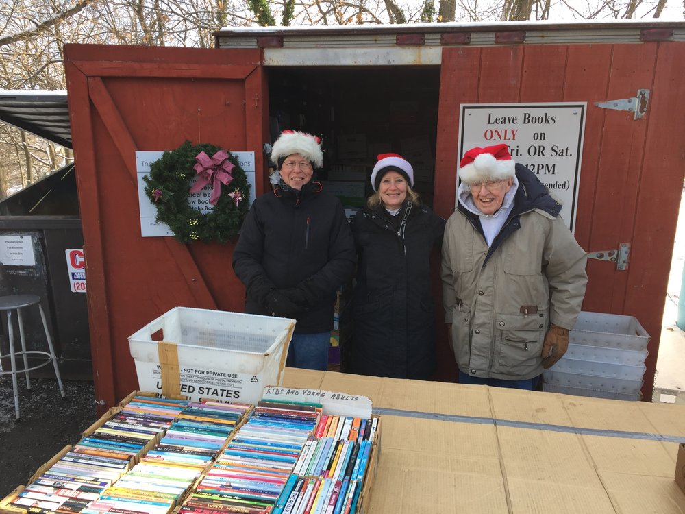 Steve Boies, Lorrie Stapleton and Doug Francefort at the Greenwich Recycling Book Swap