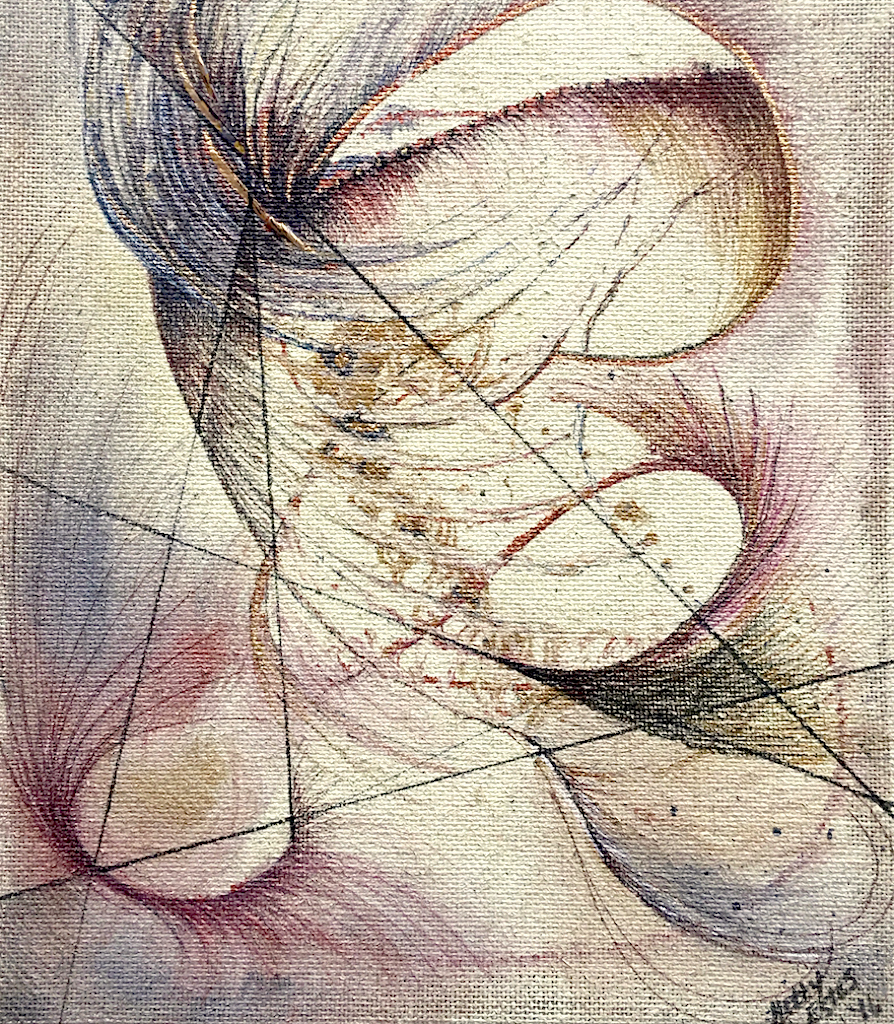 """Expanding"" this fun piece is painted on unprimed burlap. Acrylic, metallic, and found pieces are an important part of this work; from fine lines to full outward expanding curves. Line and geometry balance nicely with organic shapes in this 16 x 20 x 1.5"" painting. Hetty Estes 2016"