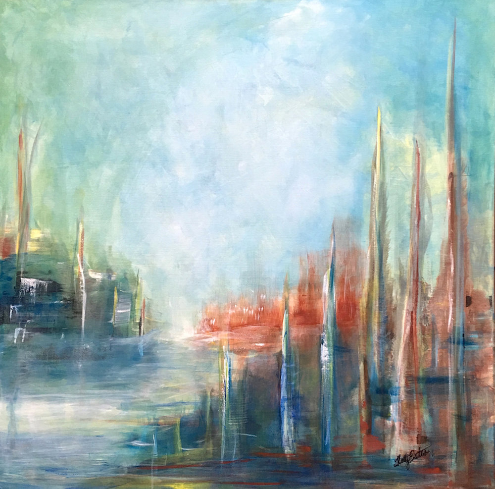 """On the quay"" 36 x 36 x 1.5"" acrylic on canvas is an abstracted view of the quay in Dublin Ireland, probably after one too many pints. It speak of the beautiful color palette found in this great city. Night comes early in the winter. Hetty Estes 2016"