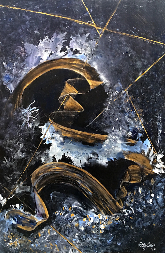 """The Golden Path"" was a gift for my son Danny. His true love of space manifested itself into this painting of deep blues and golds with plenty of white and black of substance. The path is easy to follow, but where will it take you? metallic and acrylic paint 24x36x1.5"" Hetty Estes 2017  (this painting has a new home)"