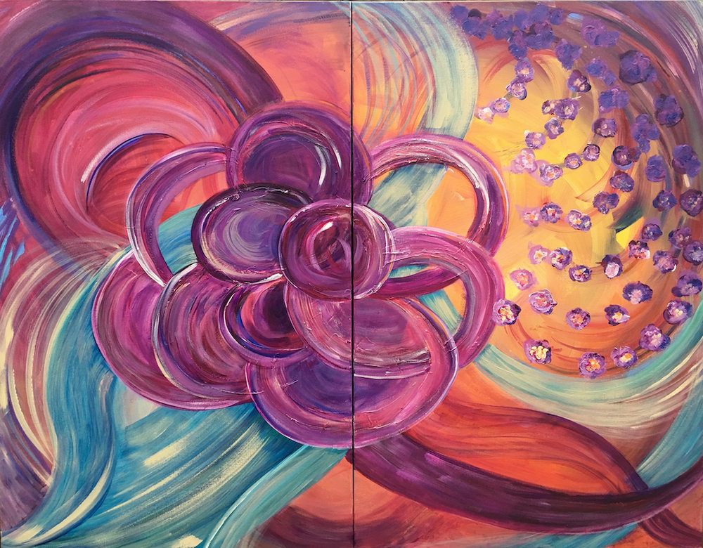 """Reaching"" diptych acrylic on two canvases. 30x48x1.5 each total 60 wide by 48 can be hung together as shown or separated. This seemingly simple flower is doing just as the title says, reaching for the light. A warmth is generated by this design that is easy to understand. The colors are reminiscent of Texas evenings watching the sun set. Hetty Estes 2016"