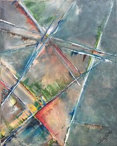 """Upward"" 16 x 20"" acrylic on canvas has so many layers of paint that it becomes translucent. A stained glass window effect with geometric shapes that converge as the viewer is drawn into its depths, or technically drawn upwards toward the sky. This abstract anti-perspective could be from any major city. Standing on a corner looking up at those amazing skyscrapers. Hetty Estes 2016"