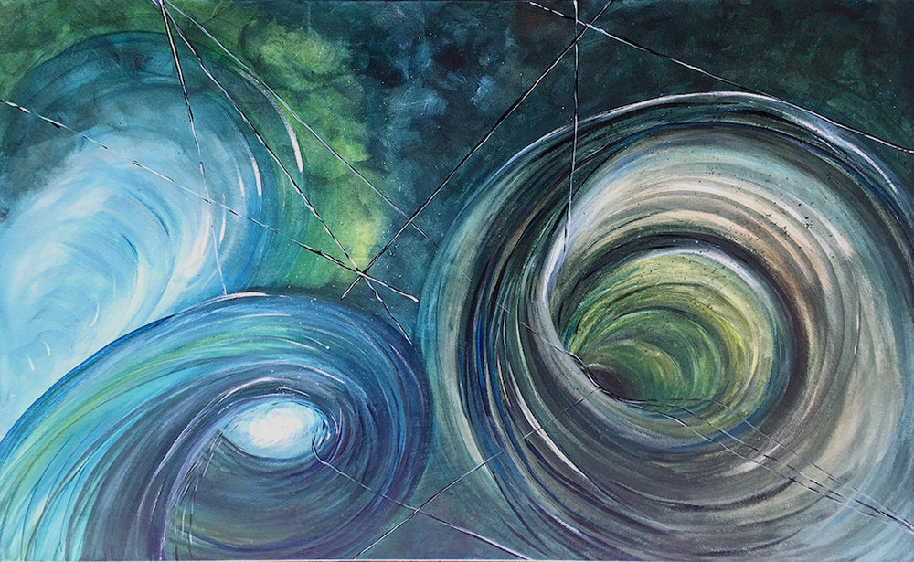 """Traverse"" acrylic on canvas. 30 x 48 x 1.5"" Movement is generated through intense use of layers of various shades and tones of blues, greens and yellows. The feeling is enhanced by interconnected vortexes. What a fun trip this would be. Abstract acrylic on canvas. Hetty Estes 2016."