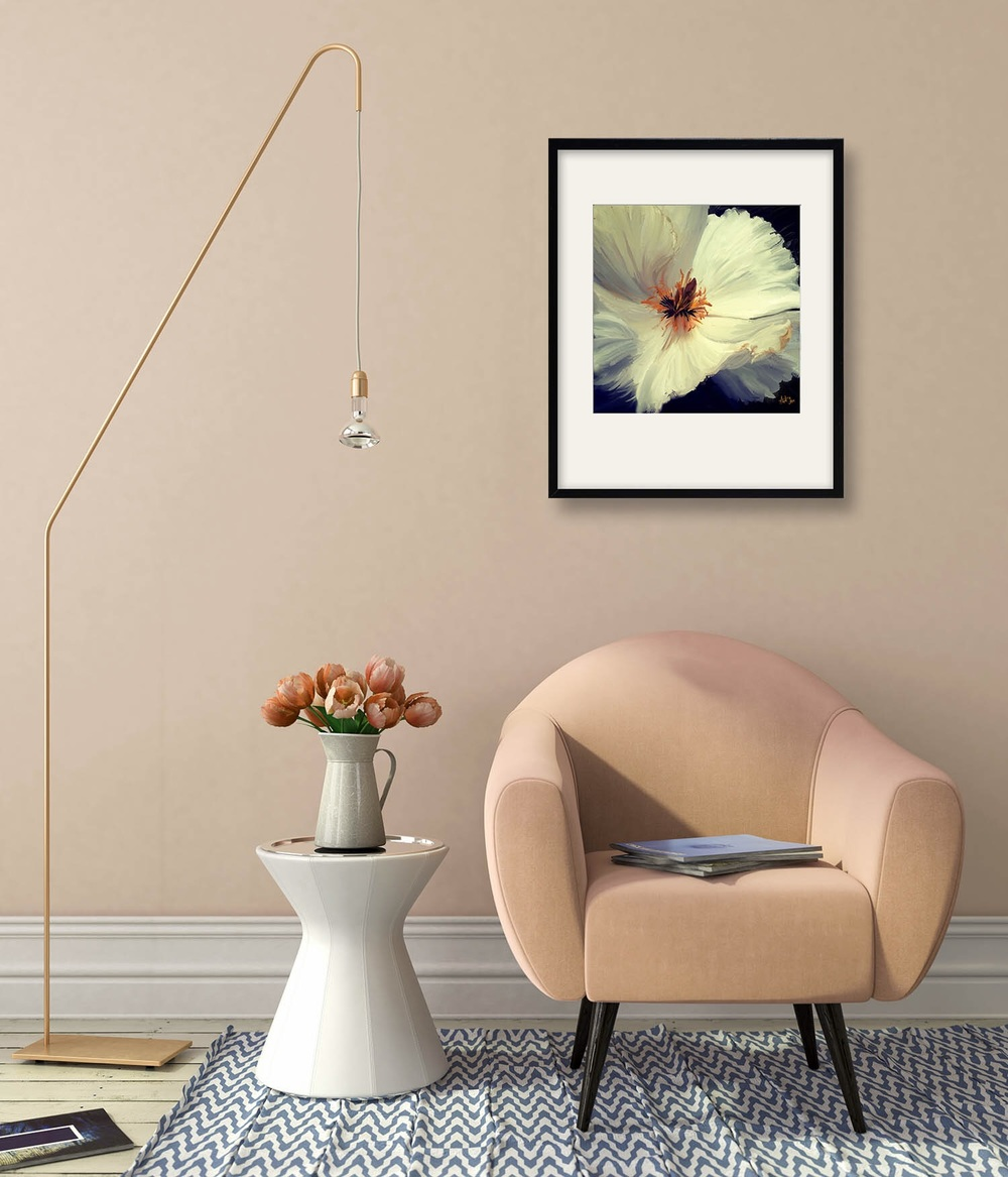 'White Flower'  on wall.