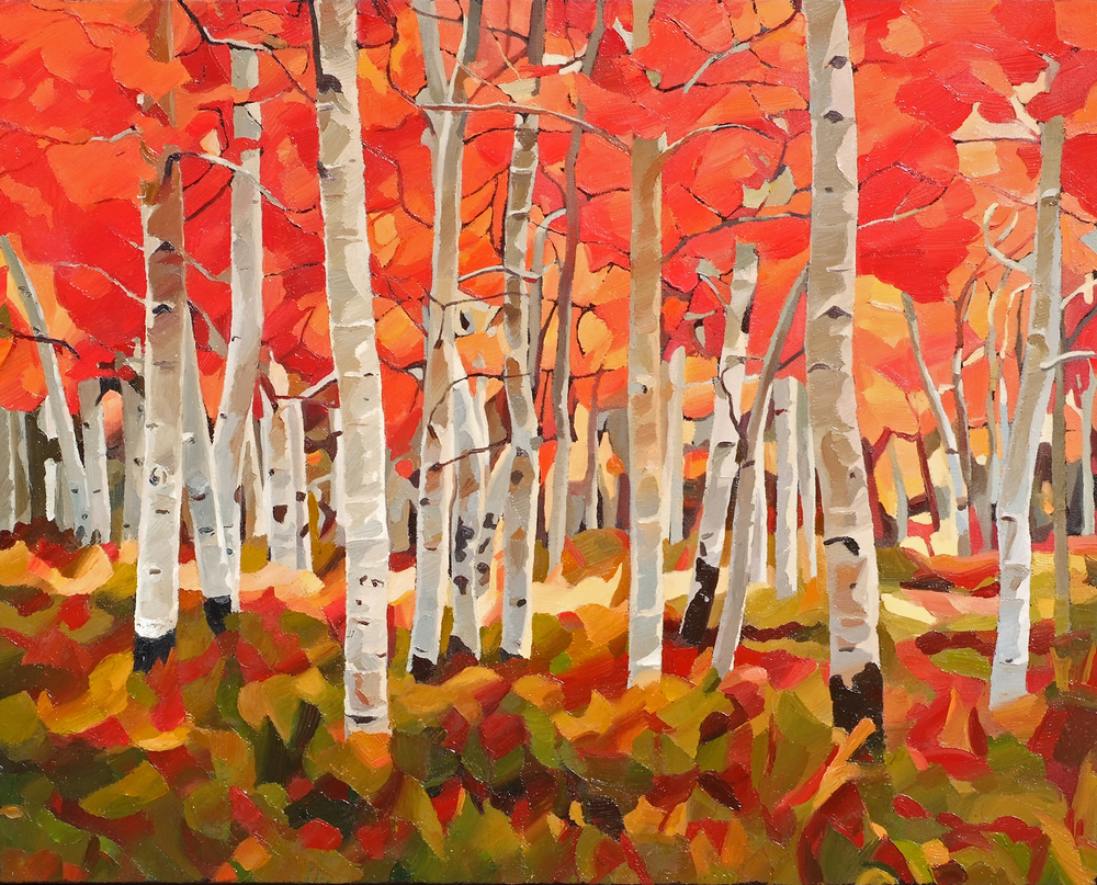 Autumn Birches - Oil on canvas
