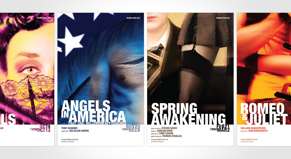 The four major performances are showcased in these poster designs.