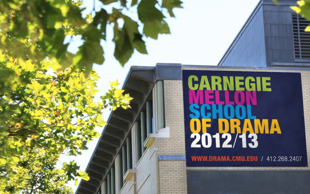 The stacked type treatment is transferred over to environmental signage, while sporting CMU Drama's range of dramatic colors.