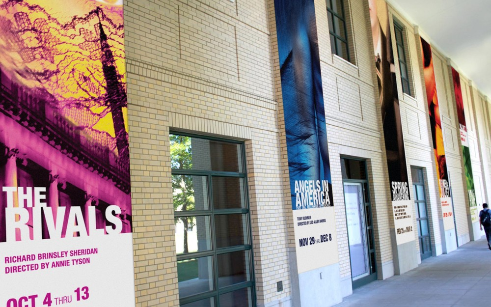 Environmental elements and banners greet campus visitors and promote the season.