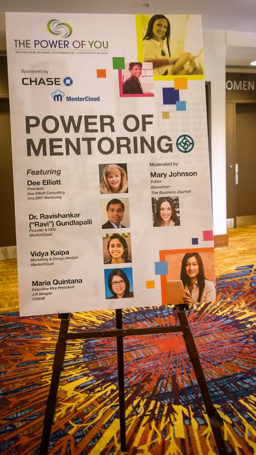 "Seen around the conference: posters for our ""Power of Mentoring"" panel"