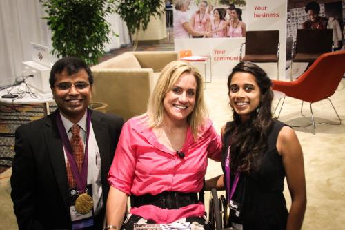 Three-time gold medalist in the para-Olympics, Muffy Davis, with CEO Ravi Gundlapalli and Marketing Analyst Vidya Kaipa