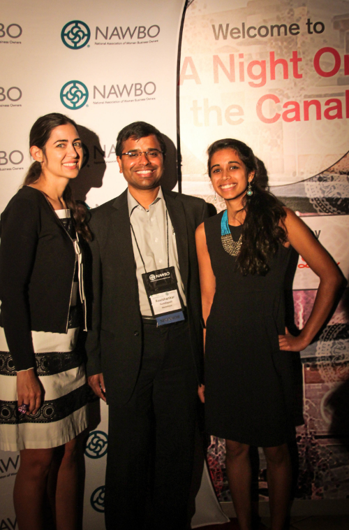 Rachael Bender, Chair of the President's Assembly, CEO Ravi Gundlapalli, and Marketing Analyst Vidya Kaipa