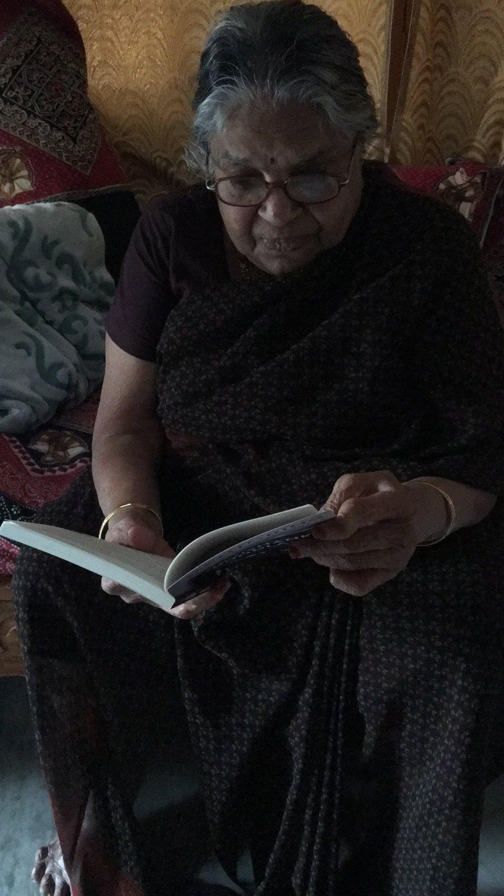 My First Guru, My Mother - Reading my book. This moment made all the hard work that went into writing this book truly worth it! Thanks Mom!