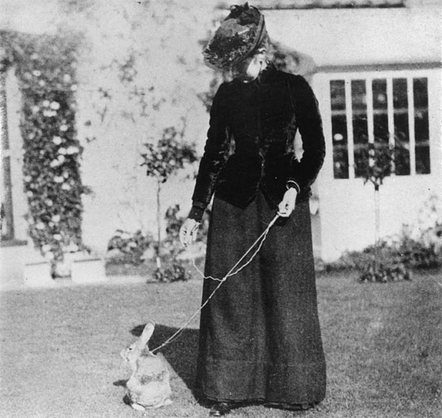 Beatrix Potter with her pet rabbit Benjamin Bouncer, taken in the 1890s.