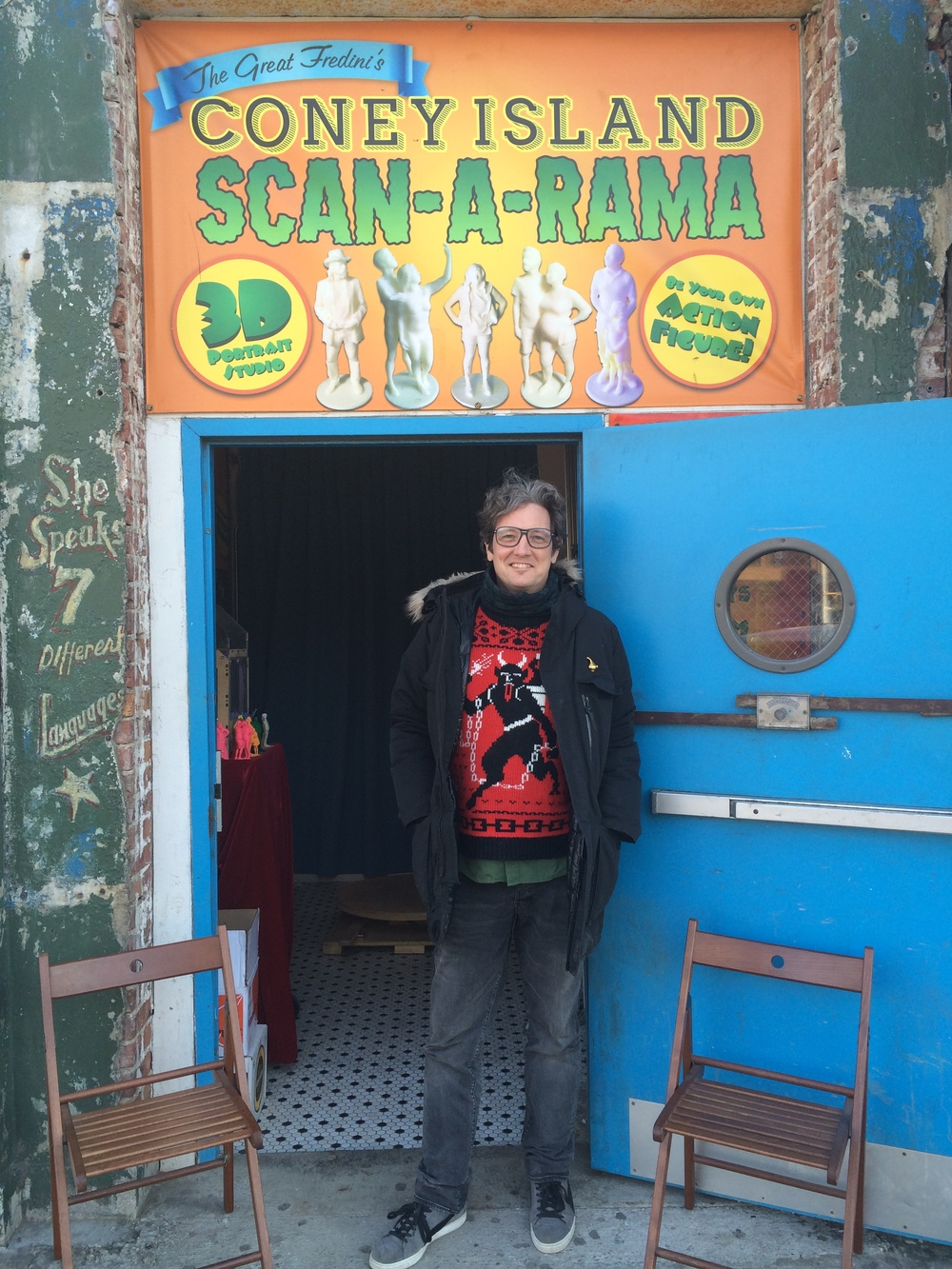 The Great Fredini outside his Scan-A-Rama at 1208 Surf Avenue in Coney Island. Picture by Legs Malone.