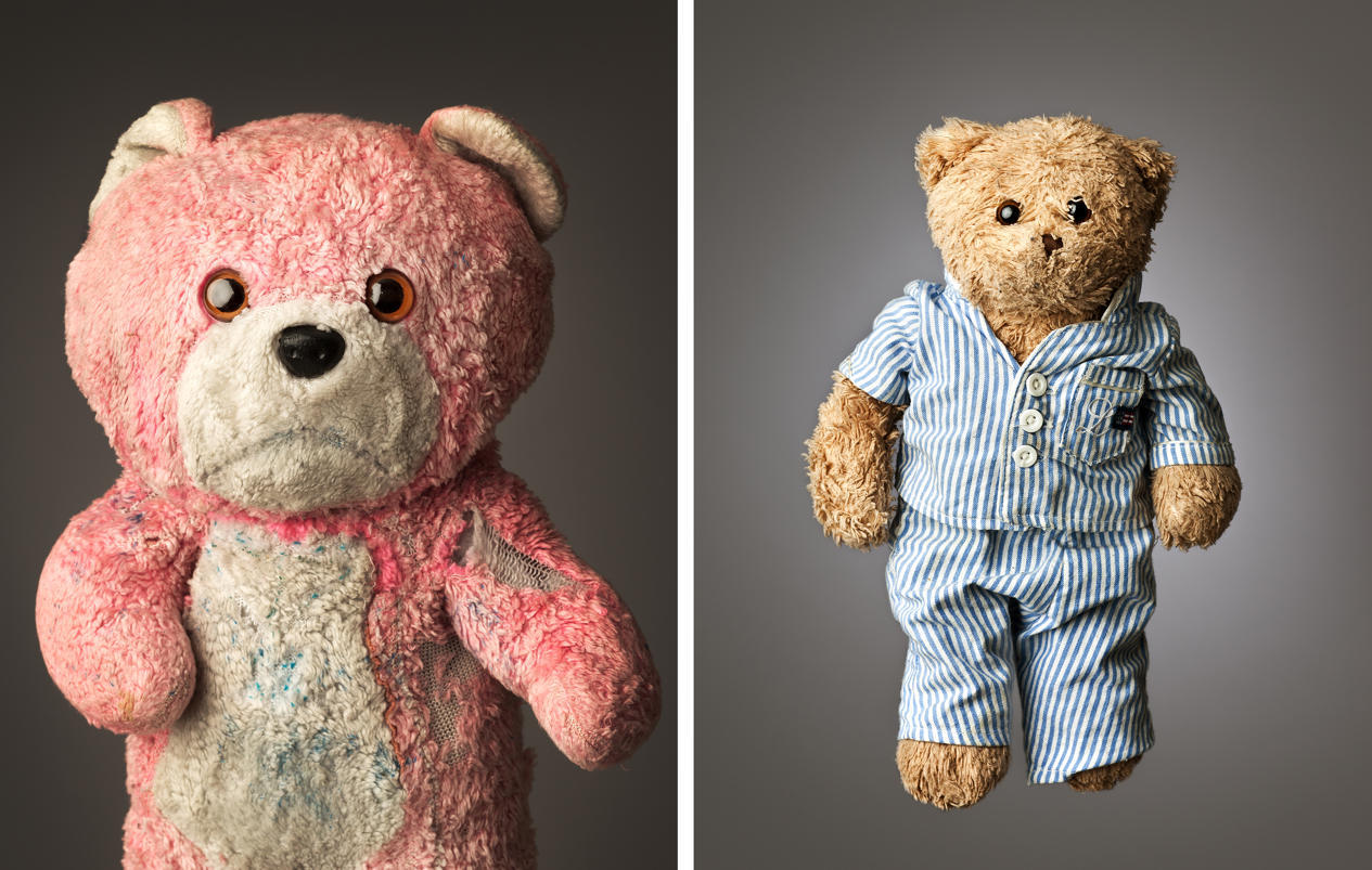 """Such personality. Much Loved - Photographs by Mark Nixon Much Loved - Photographs by Mark Nixon — Left: page 7 - Pink Teddy, AGE: 24, HEIGHT: 13"""", BELONGS TO: AISLING HURLEY Credit: © Mark Nixon and Right: page 103, Beary, AGE: 6, HEIGHT: 12"""", BELONGS TO: TOM O'CONNOR JR., Credit: © Mark Nixon"""