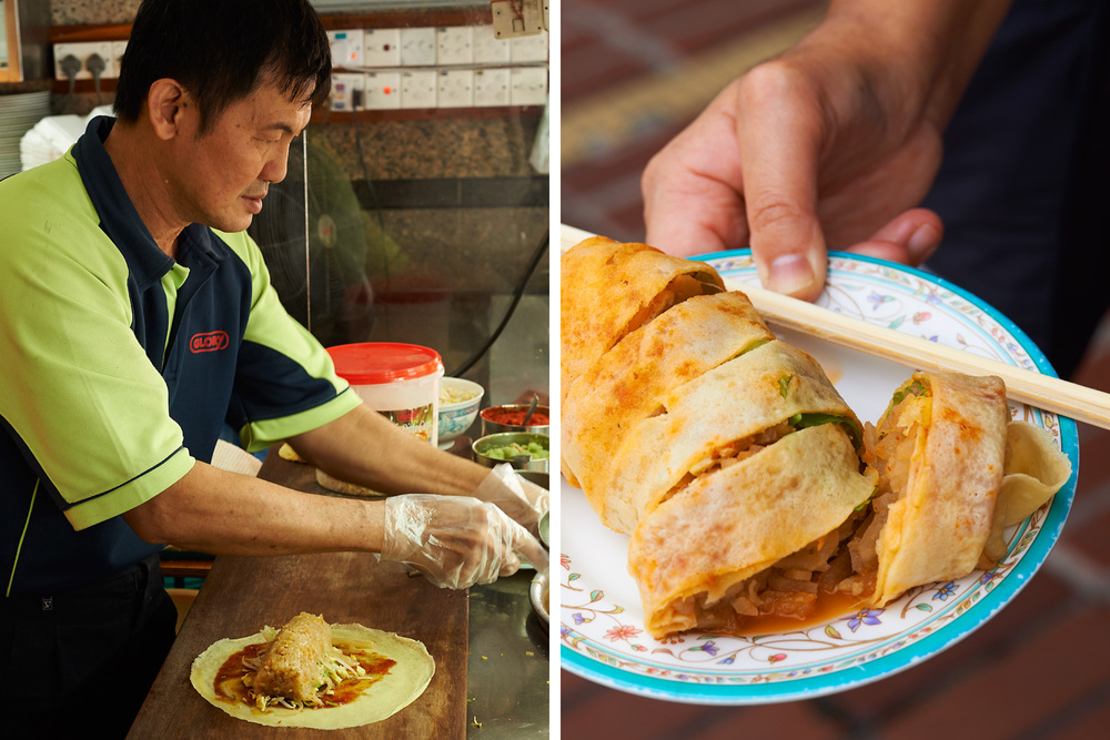 Popiah a fresh roll made of thin wheat flour crepe stuffed with  shrimp, turnip, jicama , cabbage and herbs.