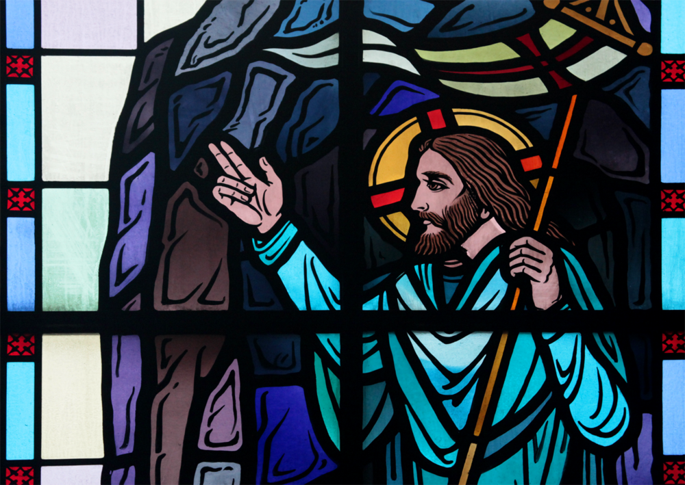 Scene from stained glass