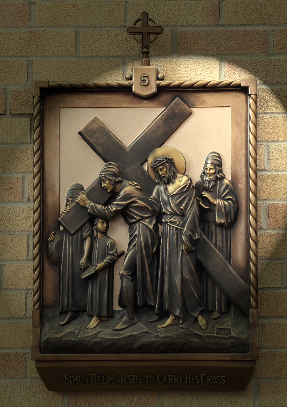 V Station: Simon of Cyrene Helps Jesus to Carry the Cross   CLICK on photo to enlarge