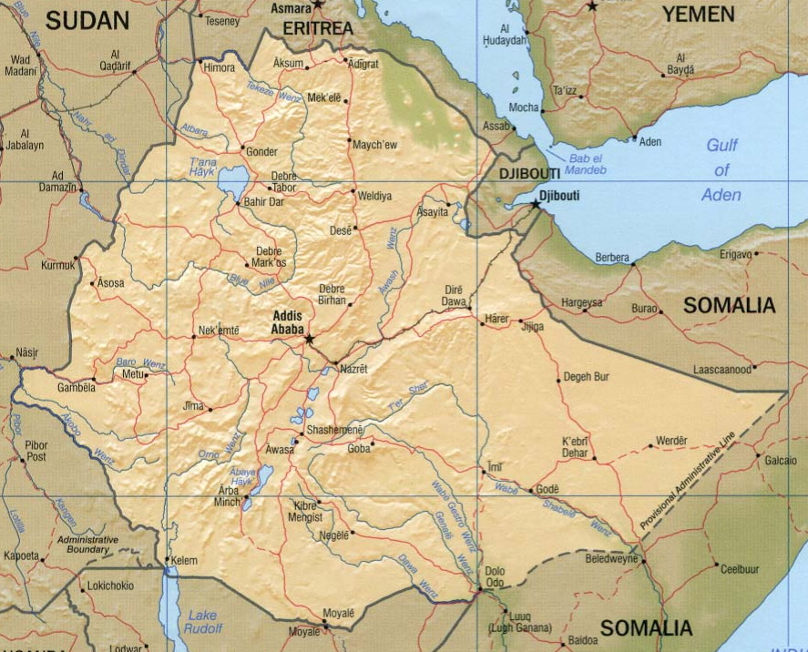 Ethiopia Relief Map by  CIA