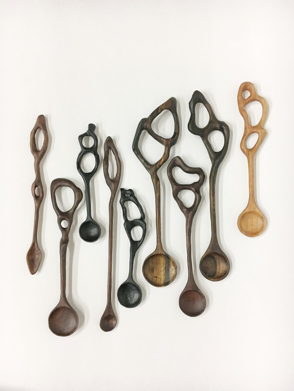 Spoons! Ebony, dark walnut, maple, bacote. . .so dang pretty!