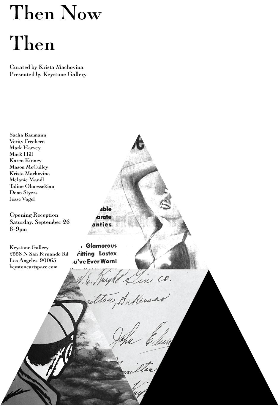 Keystone Gallery presents a group show featuring  Sacha Baumann , Verity Freebern , Mark Harvey , Mack Hill , Karen Kinney , Krista Machovina , Melanie Mandl , Taline Olmessekian , Dean Styers , Jesse Vogel