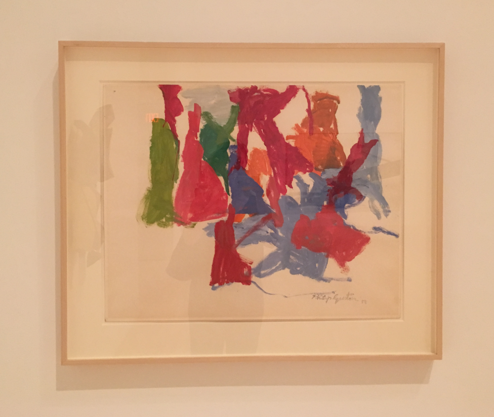 Guston. Just to the left of this small painting was more Chamberlain, also small works with a bright palette, hung directly on the wall.