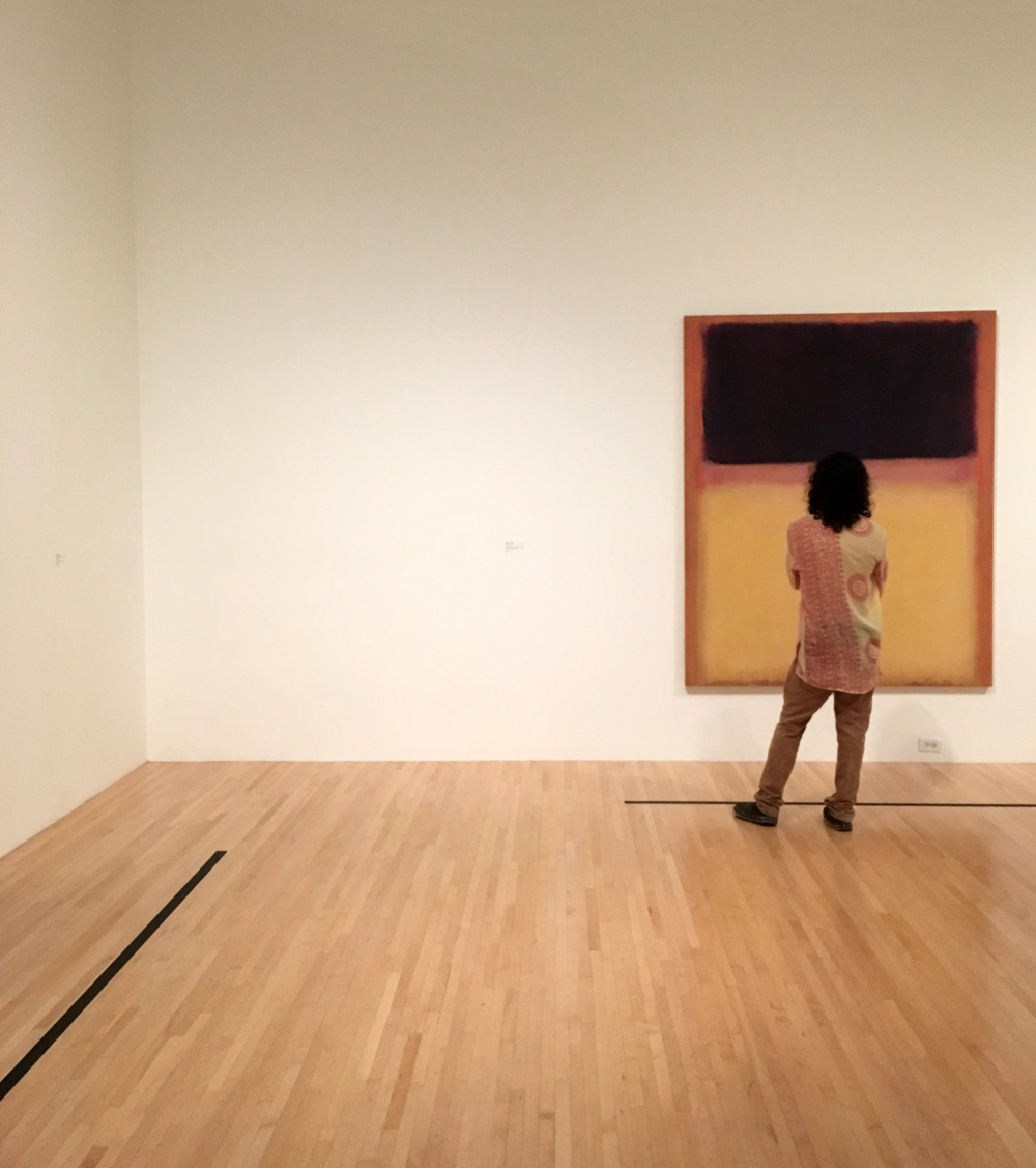 And my favorite picture of the day: this stranger gazing long and lovingly at Rothko. Here's to long, color-coordinated looks at art.