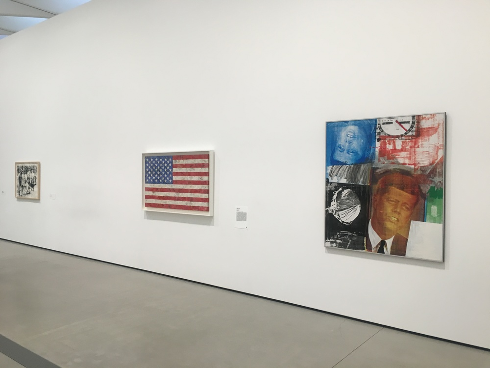 Andy Warhol Race Riot 1963, Jasper Johns Flag 1967, and Robert Rauschenberg's Untitled 1963.