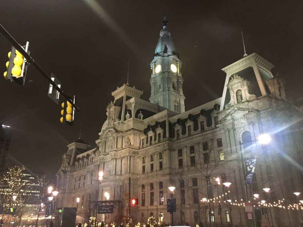 Went for a walk around downtown Philadelphia the night before the big march in D.C.