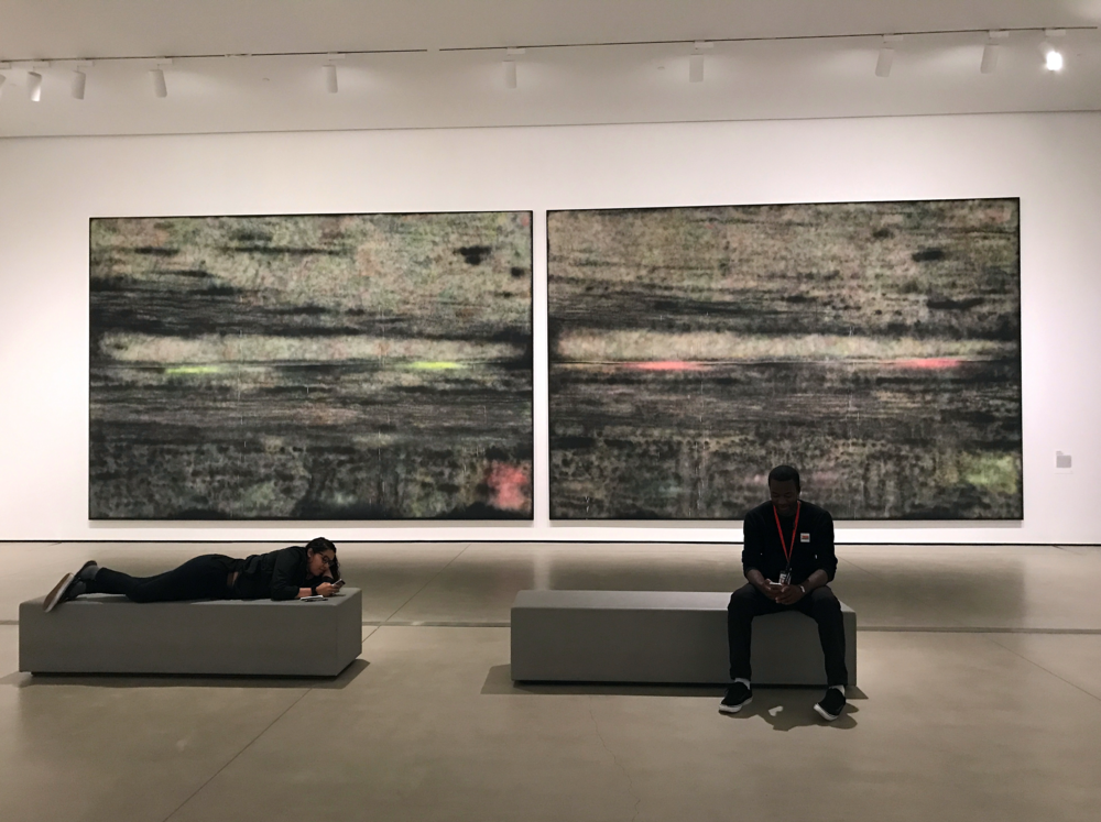 My talented co-workers are having a relaxing moment before the busy day begins in front of  SP272 (1)  and  SP272 (2), 2014 by  Sterling Ruby. In the thumbnail, I'm goofing in front of Jenny Holzer's  Thorax , 2008.