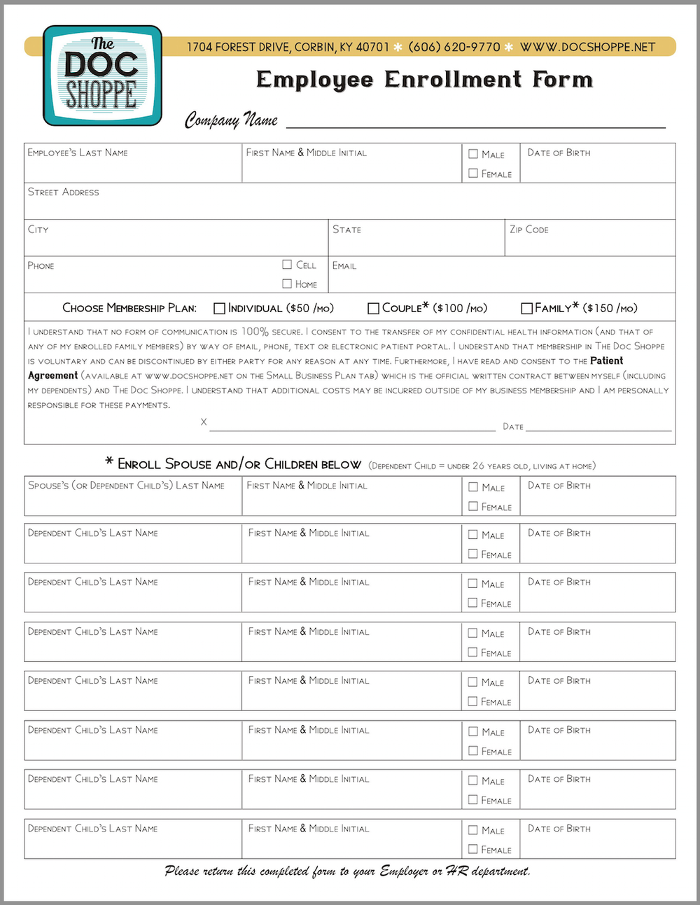 Small Business Join The Doc Shoppe – Enrollment Form