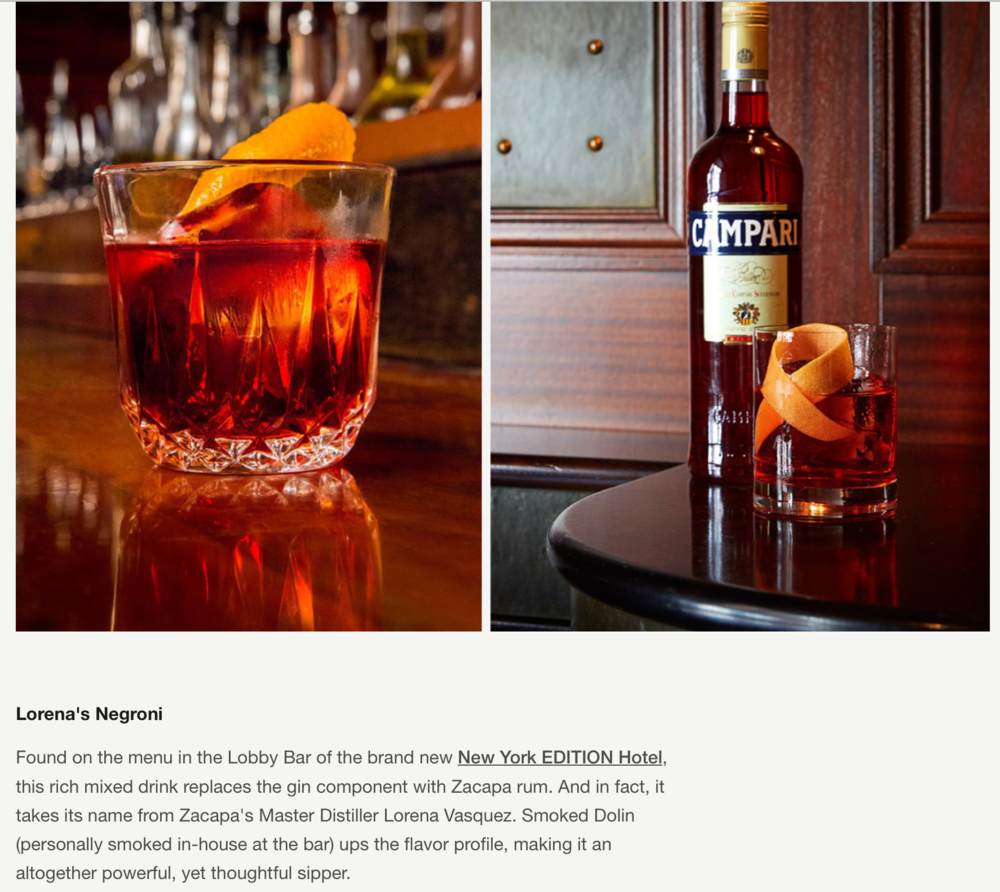 Lorean's Negroni featured in Cool Huntings, 6 variation on the Classic Negroni.