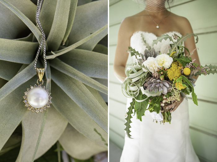 detail photographs of necklace and succulent bouquet by honey and poppies